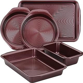 Circulon 47739 Nonstick Bakeware Set with Nonstick Bread Pan, Baking Pan, Cookie Sheet / Baking Sheet and Cake Pans - 5 Piece, Merlot Red