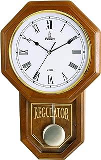 Pendulum Wall Clock Battery Operated - Quartz Wood Pendulum Clock - Silent, Wooden Schoolhouse Regulator Design, Decorative Wall Clock Pendulum, for Living Room, Kitchen & Home Décor, 18