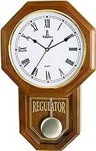 Pendulum Wall Clock Battery Operated - Quartz Wood Pendulum Clock - Silent, Wooden Schoolhouse Regulator Design, Decorative Wall Clock Pendulum for Living Room, Kitchen & Home Décor, 18