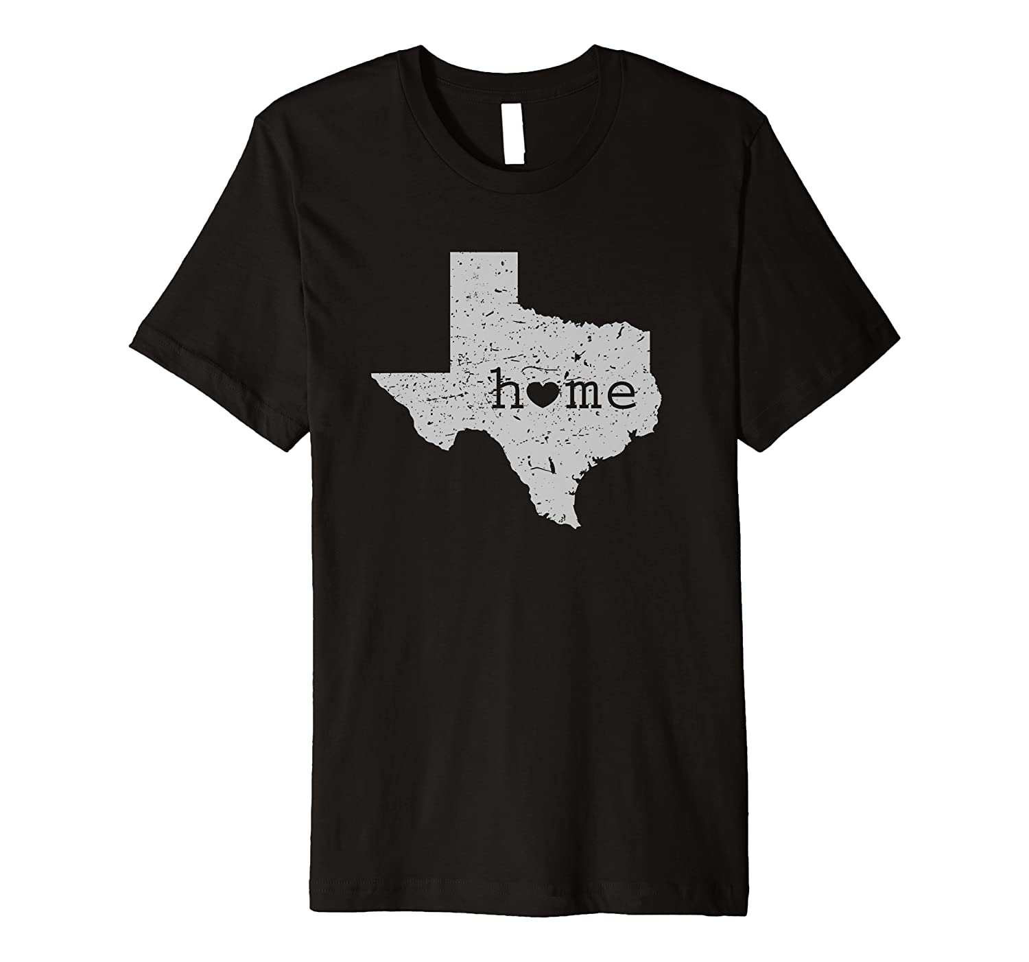 "Texas ""Home"" Is Where the Heart Is Distressed Map T Shirt"