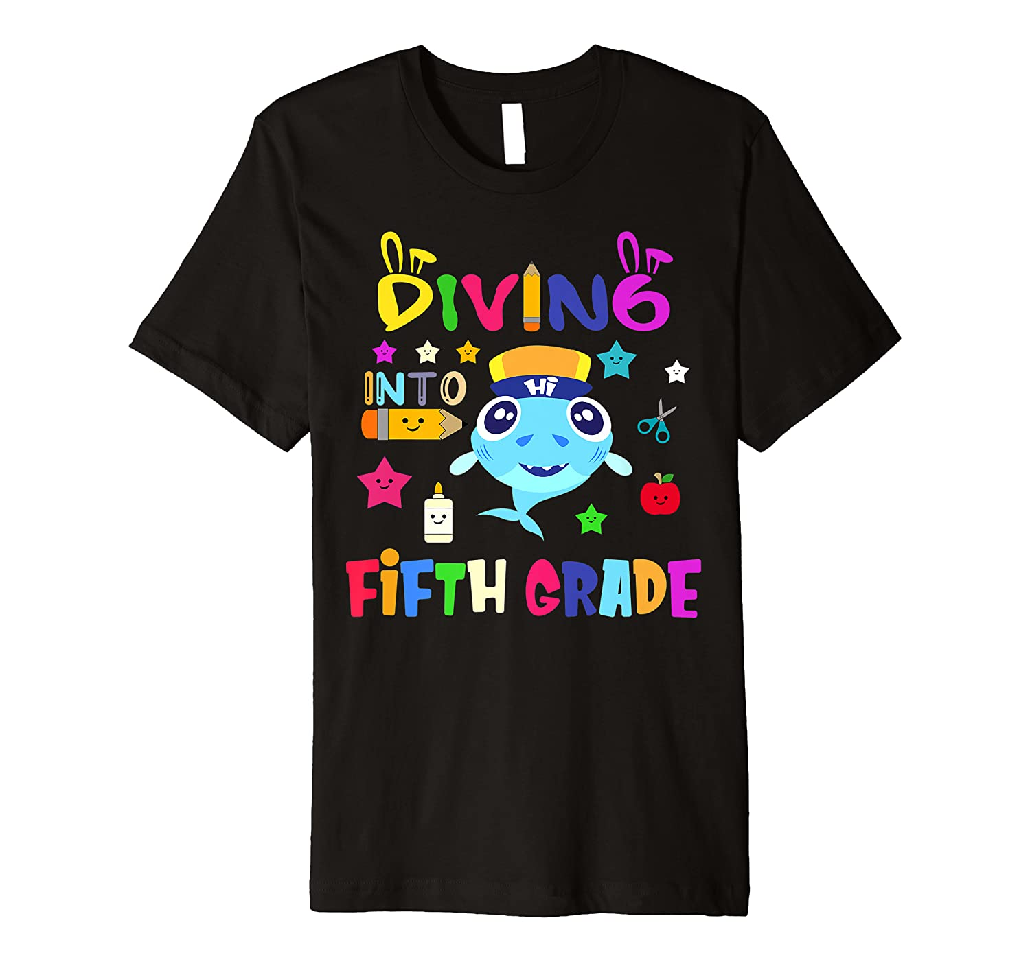 Diving Into Fifth Grade Shark Back To School Premium T-Shirt