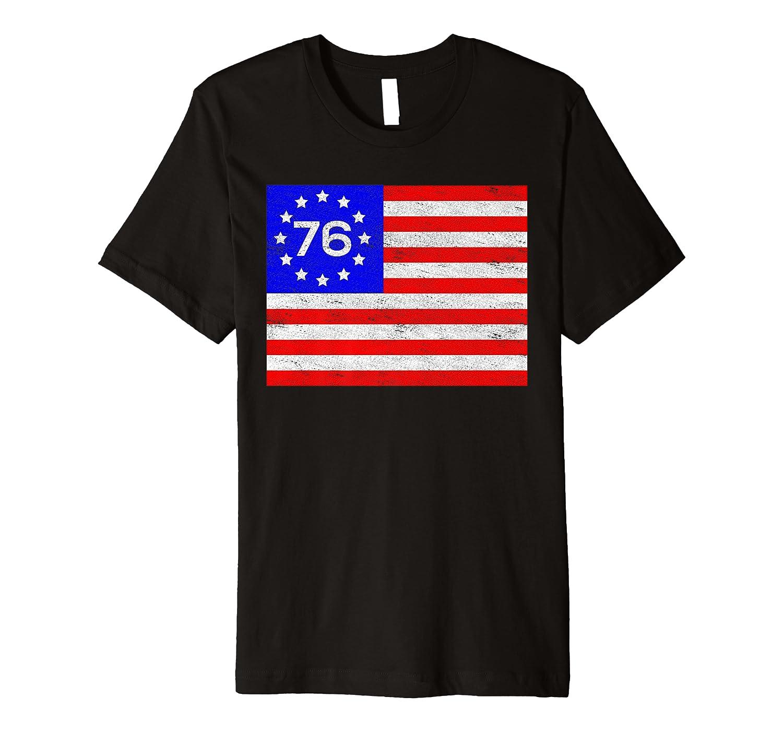 1776 13 Colonies Stars Betsy Ross Vintage Flag USA American Premium T-Shirt