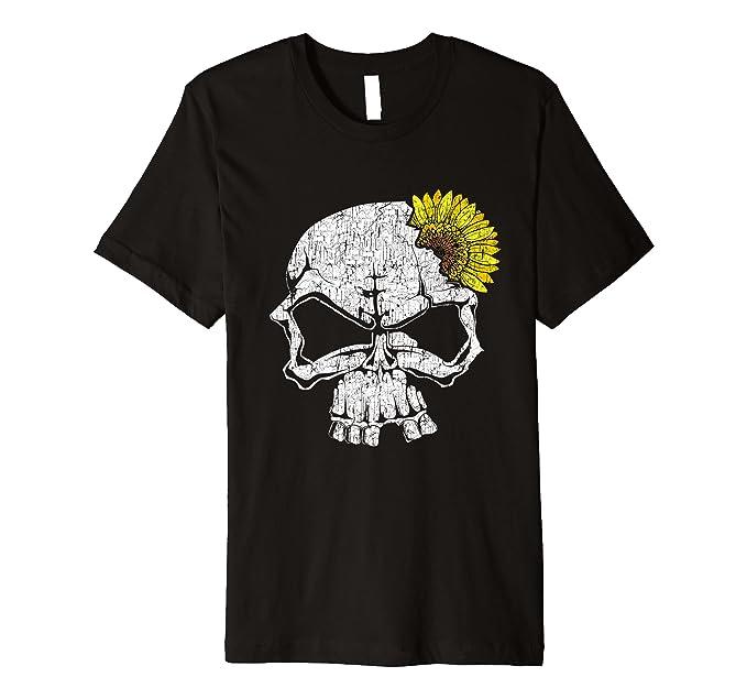 Amazon.com: Playera premium con diseño de calavera y girasol, flores y flores: Clothing