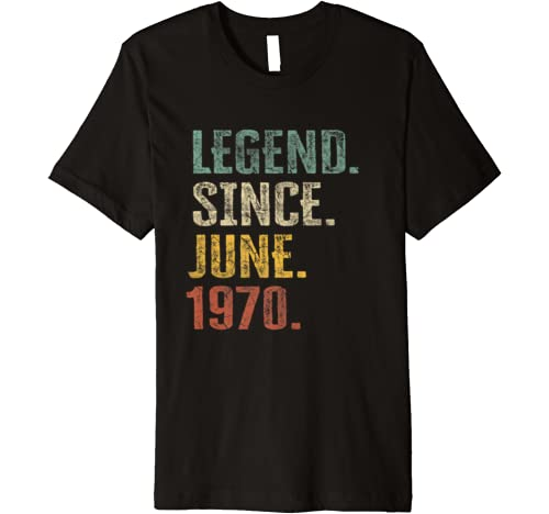 50th Birthday Gift 50 Year Old Legend Since June 1970 Bday Premium T Shirt