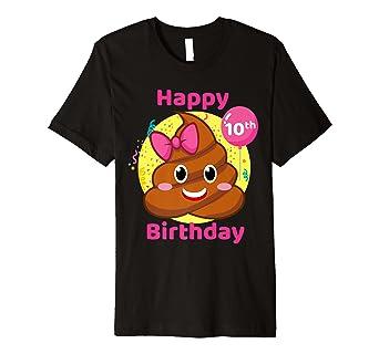 Amazon.com: Caca Emojis Cumpleaños Camisa, las niñas 10th ...