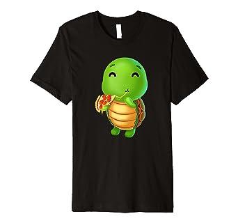 Amazon.com: Sweet Turtle eating pizza camiseta amor comida ...