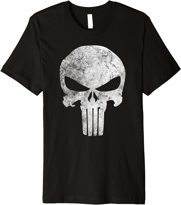 Marvel Punisher Skull Symbol Distressed Premium T-Shirt