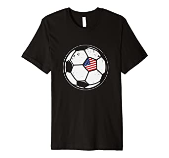 ce624ff2a Image Unavailable. Image not available for. Color: American Flag Soccer  Ball T-Shirt Soccer Player Tee