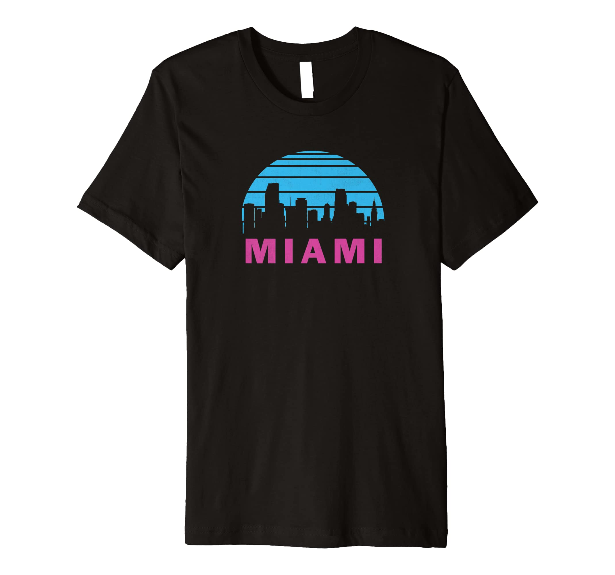 d46185cea450 Amazon.com  Cool Miami Florida Cityscape Vintage Graphic T-Shirt  Clothing