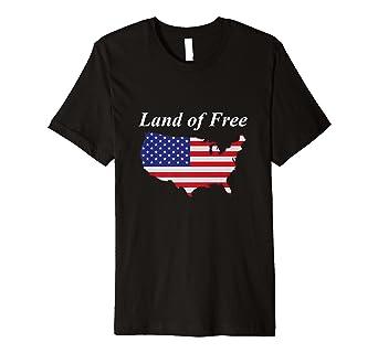 Amazon Com Land Of Free Us Map Flag Premium T Shirt Clothing