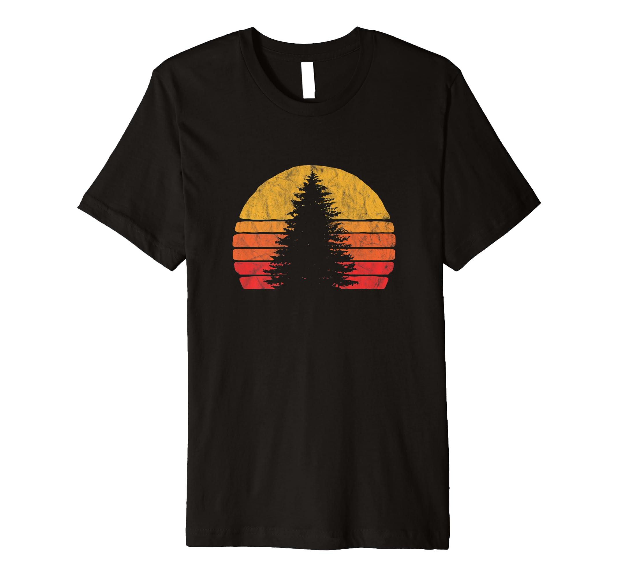 Minimalist Pine Tree: Retro Sun Minimalist Pine Tree Design Graphic T Shirt-4LVS