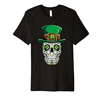 5e72c55801d22 Image Unavailable. Image not available for. Color  Sugar Skull Leprechaun T  Shirt St Patricks Day Women ...