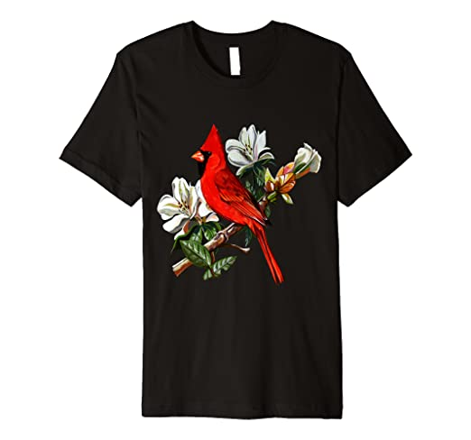 a0a785b4eb0 Amazon.com  Cardinal Bird T-Shirt. Cardinal Perch On A Branch.  Clothing