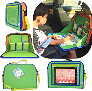 Kids Backseat Travel Tray Organizer Holds Crayons Markers an iPad Kindle or Other Tablet...
