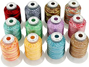 New brothread 12 Colors Variegated Polyester Embroidery Machine Thread Kit 500M (550Y) Each Spool for Brother Janome Babyl...