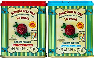 Created For Gourmanity Spanish Smoked Paprika Sweet & Hot Twin Pack - Pimenton de La Vera Dulce - Pimenton De La Vera Picante - La Dalia Smoked Paprika - Smoked Spanish Paprika Sweet Spicy