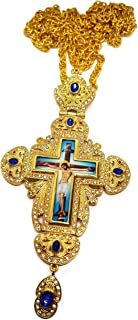 Pectoral Cross Necklace Blue Zircons Crystals Christian Church Golden Priest Crucifix