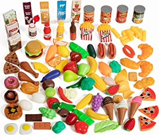 IQ Toys Deluxe Play Food Pretend Playset 120 Piece Set of Hard Plastic Cooking and Baking Grocery Kitchen Food Assortment Toy for Kids