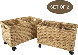 Made Terra Set 2 of Seagrass and Water Hyacinth Storage Baskets on Wheels | Straw Wire Woven Wicker Baskets for Kitchen, Pantry, Home Organization and Decor (Water Hyacinth (Twisted Weaving))