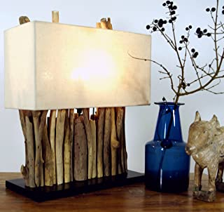 Guru-Shop Lámpara de Mesa/lámpara de Mesa Okawango, Hecha a Mano en Bali a Partir de Material Natural, Madera de Deriva, Algodón - Modelo Okawango, Driftwood, 40x35x16 cm