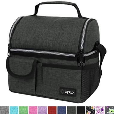 OPUX Insulated Dual Compartment Lunch Bag for Men, Women | Double Deck Reusable Lunch Pail Cooler Bag with Shoulder Strap, Soft Leakproof Liner | Large Lunch Box Tote for Work, School (Charcoal)