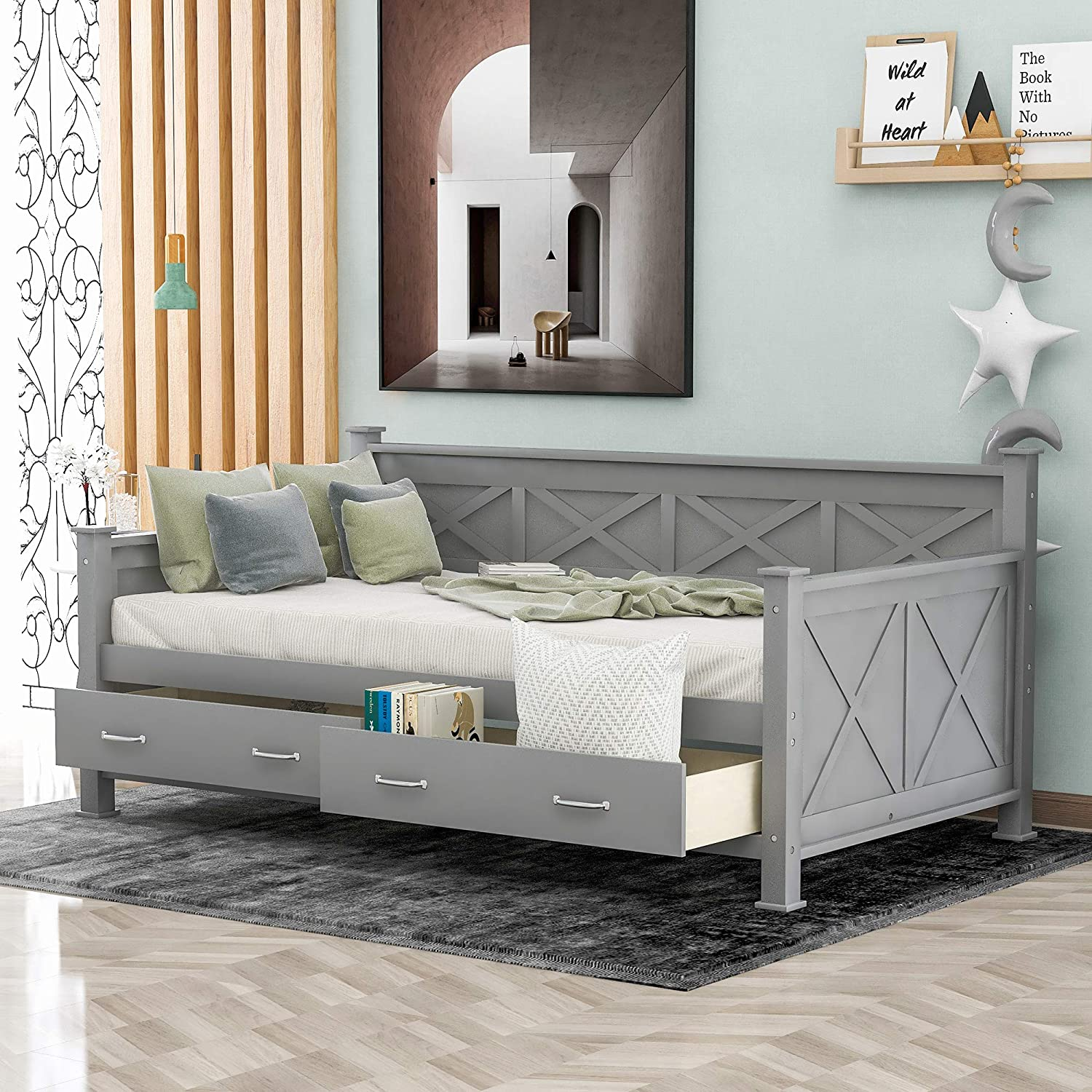 SOFTSEA Wooden Twin National uniform free shipping Daybed with Drawers So 2 Large Space-Saving Popular overseas