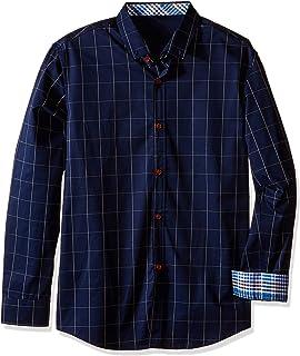 2e186df1671 QZUnique Men s Big   Tall Plaid Pattern Slim Fit Long Sleeve Cotton Dress  Shirt