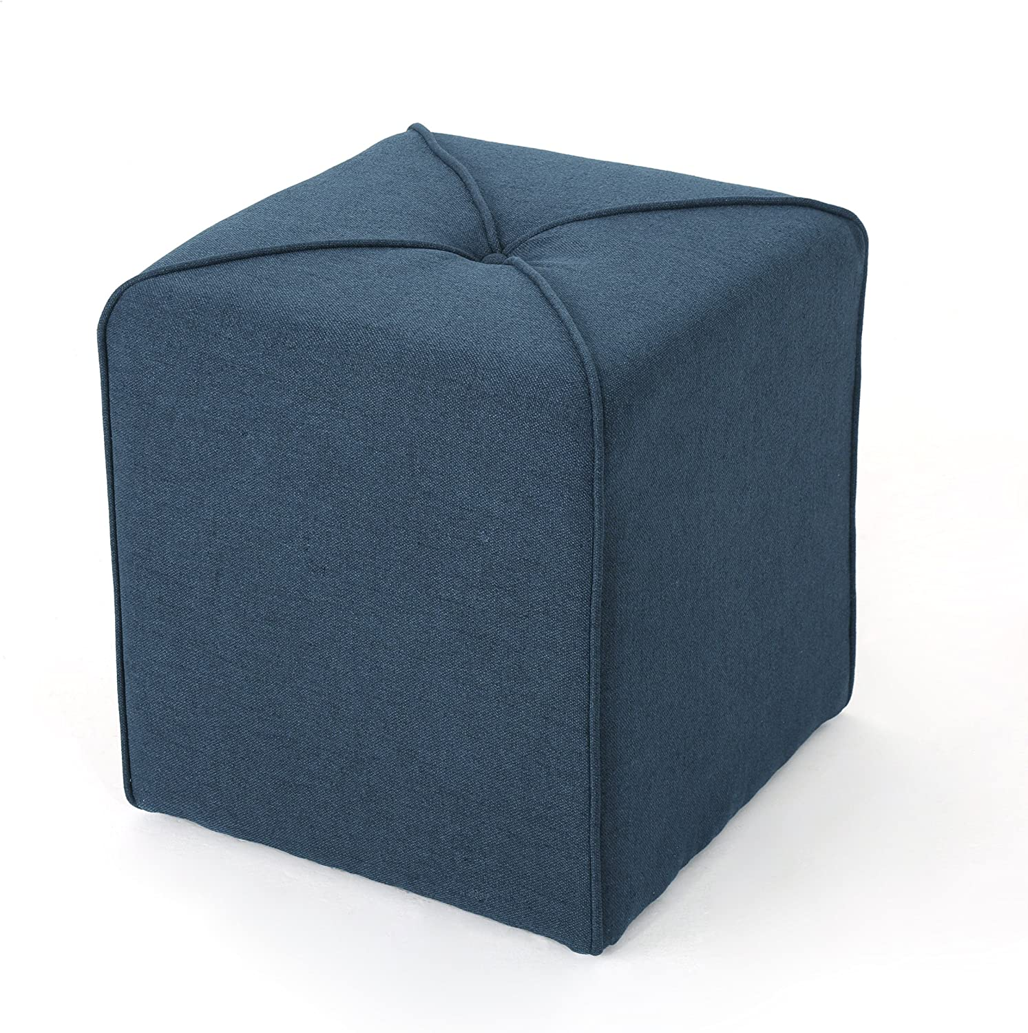 Christopher Knight Home Kenyon Fabric Square Ottoman, Navy Blue