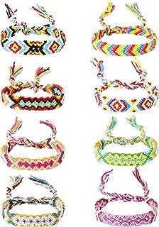 8Pcs Nepal Woven Friendship Bracelets Colorful Handmade Braided Thread Bracelets for Wrist Ankle Assorted Styles