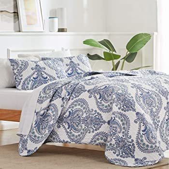 SLEEP ZONE Printed Quilt Set 3-Piece Classic Pattern 120gsm Fabric Stich Bedding Set Soft Lightweight Microfiber Bedspread Coverlet Quilts for All Season, Classic Baroque, Full/Queen
