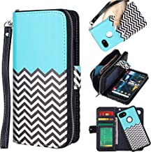 ELV Designed Google Pixel 2 XL Case [PU Leather] Slim Folio Wallet Purse Protective Magnetic Closer [Pull tab] Cover for Google Pixel 2 XL - Zigzag