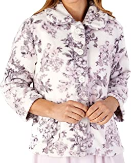 Slenderella Ladies Long Sleeve 300GSM Luxury Soft Floral Pattern Fleece Button Up Bed Jacket Size Small Medium Large XL and XXL