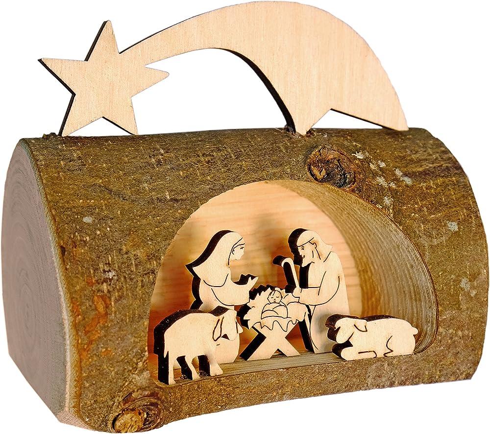Kaltner präsente - presepe natalizio in legno con gesù, maria e bambino dentro un tronco d`albero B0734Z96GC