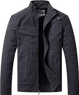 WenVen Men's Slim Fit Casual Full Zip Military Jacket