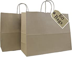 """Incredible Packaging- 16"""" x 6"""" x 12"""" Kraft Paper Bags with Handles for Shopping, Retail and Merchandise. Strong and Reusable - 60 Bags Count - 80 Paper Thickness (Brown)"""