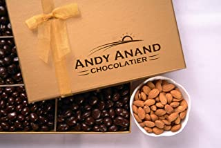 Andy Anand's Chocolates - Premium California Almonds covered with Gourmet Chocolate in Gift Basket, All-Natural and Certified Made from Natural Ingredients (1 lbs)
