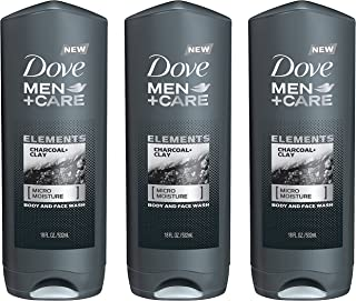 Dove Men + Care Body And Face Wash - Elements - Charcoal + Clay - Net Wt. 18 FL OZ (532 mL) Per Bottle - Pack of 3 Bottles