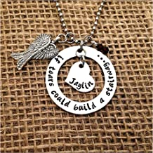 Personalized Remembrance Necklace If Tears Could Build A Stairway Swarovski Crystal Birthstone Charms Angel Wing Charm Hand Stamped Memorial