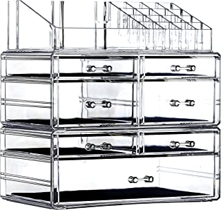 Cq acrylic Clear Makeup Organizer And Storage Stackable Extra Large Skin Care Cosmetic Display Case With 7 Drawers Make up...