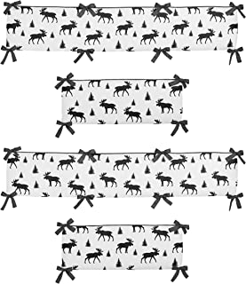 Sweet Jojo Designs Grey, Black and White Woodland Moose Baby Crib Bumper Pad for Rustic Patch Collection