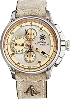 L. Kendall Mens Swiss Automatic Watch - Ivory Mother of Pearl Dial with Luminous Tips, Chronograph and Date - Stainless St...