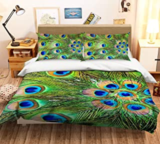 AJ WALLPAPER 3D Peacock Feather 525 Bedding Pillowcases Quilt Duvet Cover Set Single Queen King | 3D Photo Bedding, US Amy (Crib)