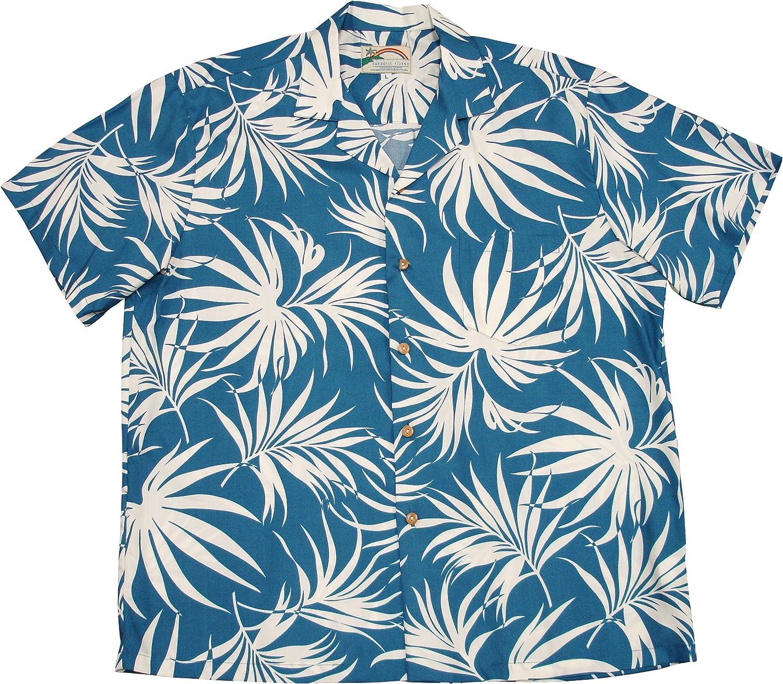 Paradise Found Mens Fan Palm Shirt Blue 4X