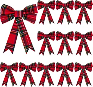 WILLBOND Christmas Plaid Bows Red and Black Bows Christmas Holiday Decorative Bows for Christmas Tree Home Decor, 5 x 7 In...