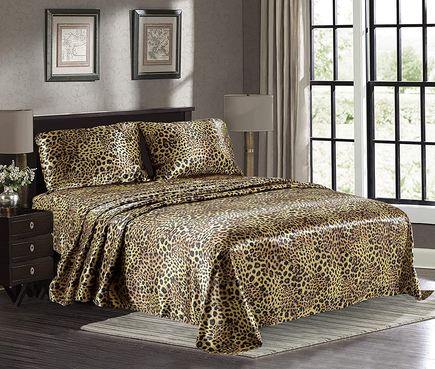 Satin High quality new Sheets Queen 4-Piece Gold Hotel Leopard Luxury Be Silky 2021 autumn and winter new