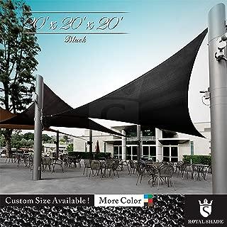 Royal Shade 20' x 20' x 20' Black Triangle Sun Shade Sail Canopy, 95% UV Blockage, Heavy Duty 200GSM, Custom Made Size