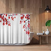Axis Pink Cherry Blossom Shower Curtain with Liner - Modern Sakura Theme Japanese Art - Water-Repellent Polyester Curtains - Rust-Proof Grommets, with 12 Heavy-Duty Hooks
