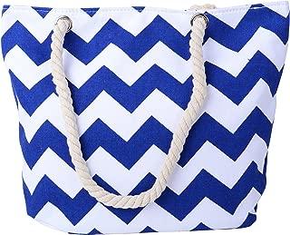 Pulama Women Beach Tote Canvas Shoulder Bag Anchor Summer Handbag Top Handle Bag Straw Beach Bag