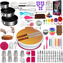 500 Pcs Cake Decorating Supplies Kit with Baking supplies- Springform Pan Set -Cake Turntable stand Numbered Piping Tips &...