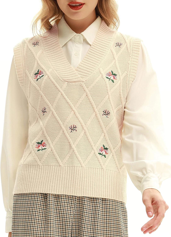 Belle Poque Women Vintage Sweater Vest V-Neck Sleeveless Sweater Vest Top